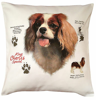 King Charles Spaniel History Breed of Dog Cotton Cushion Cover - Perfect Gift