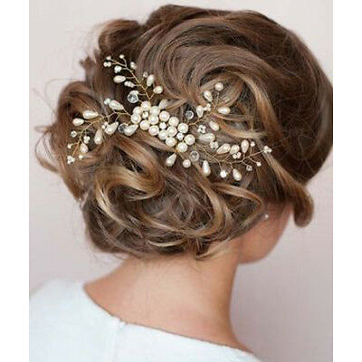 Brides Crystal Pearl Hair Jewelry Hair Clip Fascinator Wedding Prom Headpiece