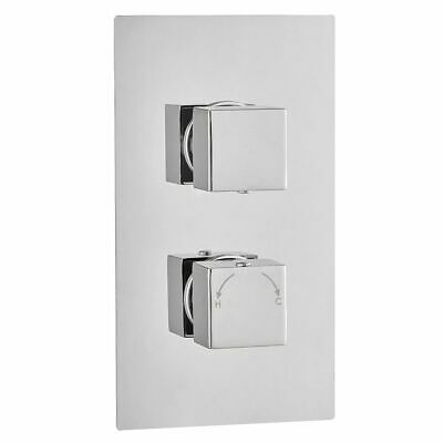 Premium TMV2 Concealed Thermostatic Shower Mixer Valve with Twin Outlets Chrome