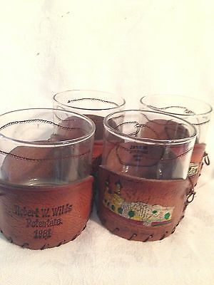 4 Murat Temple and Shrine Club Drink Glasses with Leather Holders Indianapolis