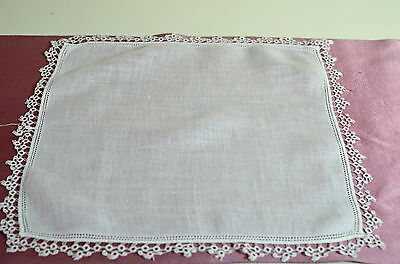 Beautiful Vintage Linen Handkerchief With Hemstitching And Hand Tatting Rr109
