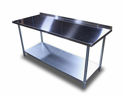 "New Commercial 2"" Backsplash 24""x60"" Restaurant Stainless Steel Prep Work Table"
