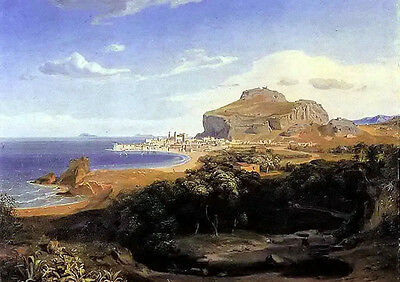 Oil painting carl rottmann - cefalu stunning landscape free shipping on canvas