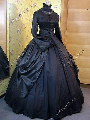 Victorian Dress Black Gothic Steampunk Ghost Dark Witch Halloween Costume 156