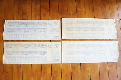 LNER Gresley Brake Compartments Carriage Railway Technical Drawing x4