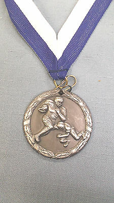action FOOTBALL silver medal  trophy with blue/white drape