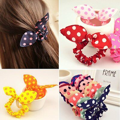 10PCS Charm Women Bow Knot Elastic Hair Band Hair Rope Scrunchie Ponytail Holder
