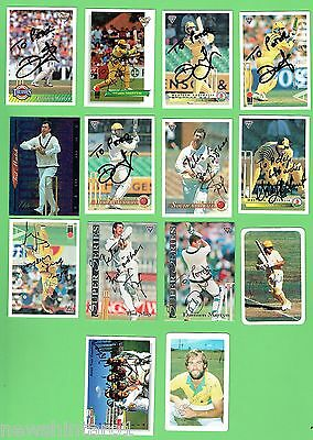 #d212.  14 Signed Australian  Cricket Cards
