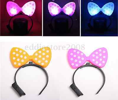 Light-Up Bowknot Dot Headband HairBand LED Dressup For Club Bar Party Kids Gift