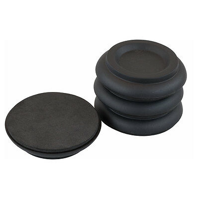 Piano Workshop Set of 4 Wooden Castor Cups For Upright Piano in Black
