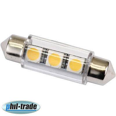 42mm Soffitte Lampe C10W 3 x 5050 SMD LED WARM WEISS Innenraum Beleuchtung 12V