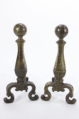Pair Distressed Style Andirons Fire Dogs Fireplace Log Holder Marked 3713 & 1928
