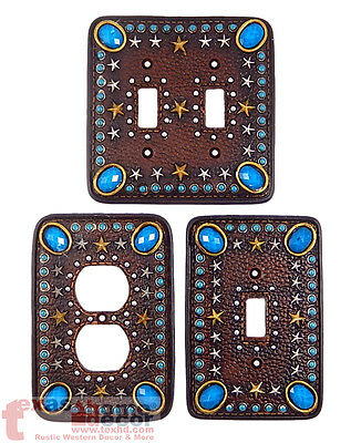 Western Switch Plate Cover Turquoise Stars Leather Look Gold Silver Southwestern
