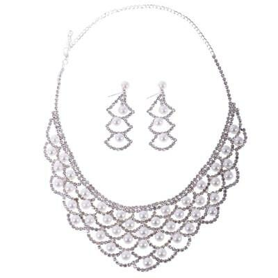 Wedding Bridal Rhinestone Crystal Pearl Necklace Earring Plated Jewelry Set