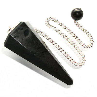 Black Tourmaline Schorl Point Dowsing Pendulum Crystal Psychic Protection