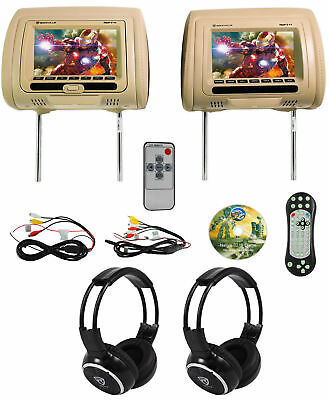 "Rockville RDP711-BG 7"" Beige Car Headrest Monitors w/DVD//HDMI/Games+Headphones"