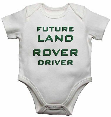Future Land Rover Driver - Personalized Baby Vests Bodysuits Boys Girls - White