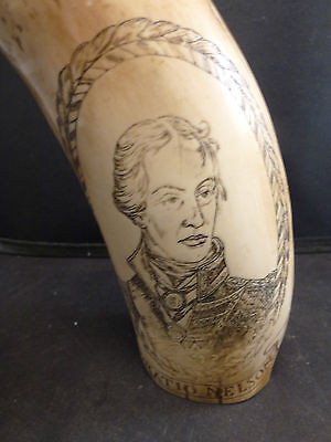 Reproduction Scrimshaw Whales Tooth So Good It Looks Authentic horatio nelson