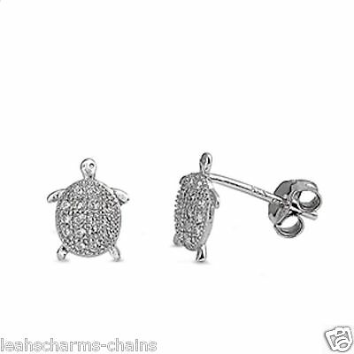 TURTLE CZ EARRINGS sterling silver (Pair)