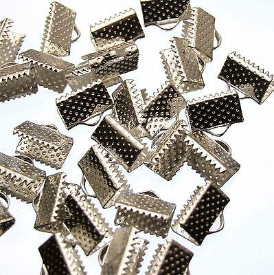 30 Bright Silver Plated Ribbon Ends Flat Clamp Crimp 10mm
