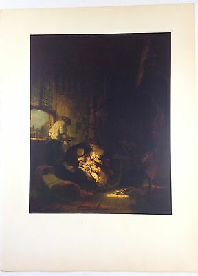 "1953 Vintage Full Color Art Plate /""The Night Watch/"" Rembrandt Lithograph Litho"