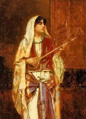 Oil painting rudolf ernst - the mandolin player beautiful young girl portraits