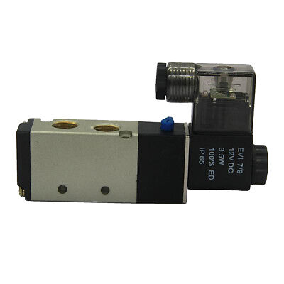 DC 12V Pneumatic 5-Way 2-Position Electric Air Solenoid Valve Brass 4V210-08