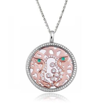 De Buman Two-tone CZ /& Crystal Eternity Necklace 925 Silver Chain 18 INCHES