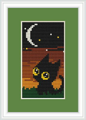 Nightime Black Cat Cross Stitch Kit By Luca S Ideal For Beginner 5cm x 10cm