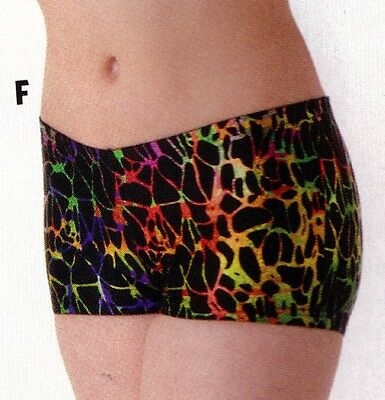 NWT Axis Booty Shorts Dance Gymnastics Multi Color FOIL Print ch/ladies 94200