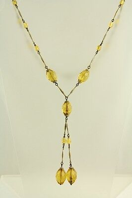 """VTG 1930'S CZECH YELLOW CRYSTAL BEAD WIRED NECKLACE Brass CHAIN LINK -23.25"""" -J8"""