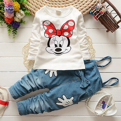 Girls Baby Tops T-shirt Denim Bib Pants Cartoon Minnie Two-piece Outfit Set 1-5Y
