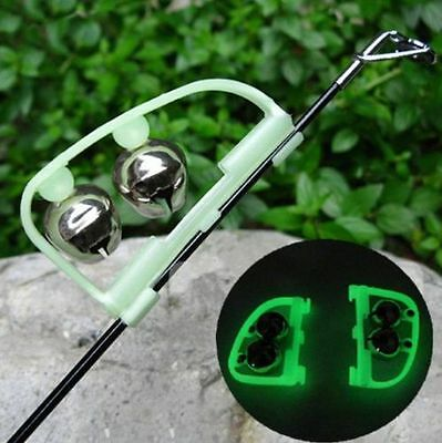 hot Fishing Bite Alarm Ring Night Glow Green Rod Clip-on Twin Bell Tool 2Pcs/SET