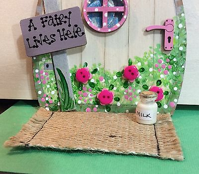 Handmade Fairy Door Accessory Set Door Mat & Milk Bottle Pixie Tooth Fairy Gift