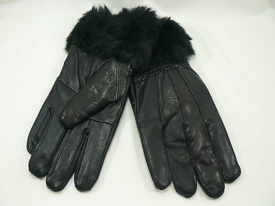 New Luxury Ladies Womens Quality Soft Black Leather Winter Driving Warm Gloves