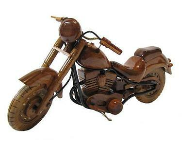 Harley Davidson Fat Boy Motorcycle Mahogany Wood Wooden Model Desk Bike