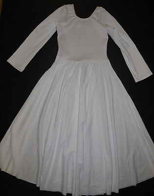 NWOT Praise Liturgical Long Sleeve White Dress Praisewear Dance Ladies/Girls