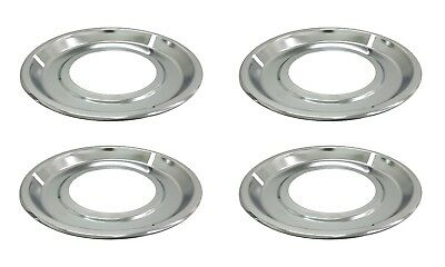 "(4) 8-1/4"" Chrome Drip Pan Bowl for Whirlpool Gas Stove Range Burner 19950052"