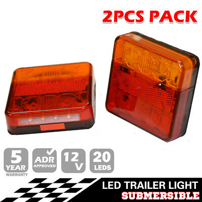 2X Trailer LED Tail Light Stop Indicator Lamp Built In Number Plate SUBMERSIBLE