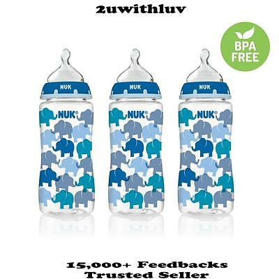 3 X Nuk Elephants Fashion Orthodontic Baby Boy Bottles 10 Oz 300Ml Bpa Free