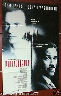 "Philadelphia (TOM HANKS) 40x27"" Double Sided Original Int. Movie Poster 90s"