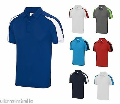 AWDis Mens Contrast Cool Polo Shirt Wickable Training Running Sports Gym JC043