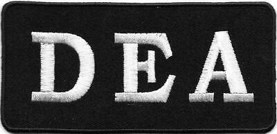 "2"" x 4 1/8"" White Black DEA Drug Enforcement Agency Embroidered Patch Prop"