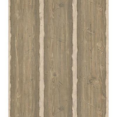 Wallpaper Brown & Taupe Textured Rustic Wood Log Cabin