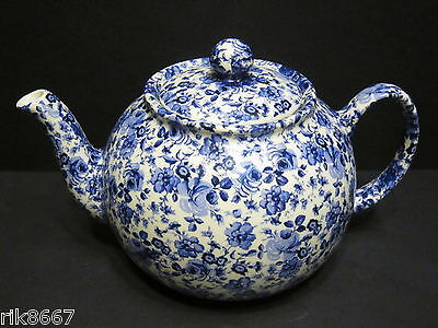 Heron Cross Pottery Small Blue Flowers Chintz 6-8 English Cup Tea Pot