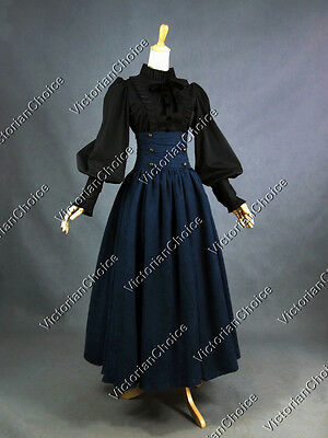 Victorian Edwardian Downton Abbey 2PC Dress Steampunk Theater Clothing D187 NAVY