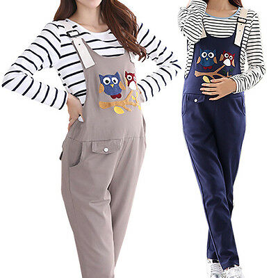 New Lady Adjustable Rompers Jumpsuit Maternity Trousers Overalls Owl Belly Pants