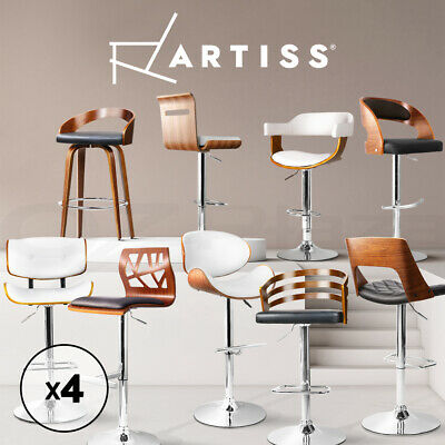4x Wooden Bar Stool Timber Kitchen Dining Chair Barstool Black White PU Leather