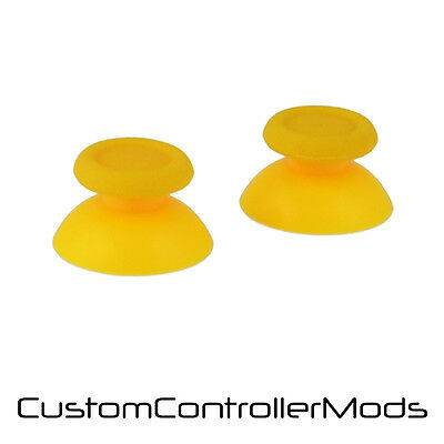 2 x Hardened Replacement Analogue Thumb Stick Grip For Sony PS4 - Yellow