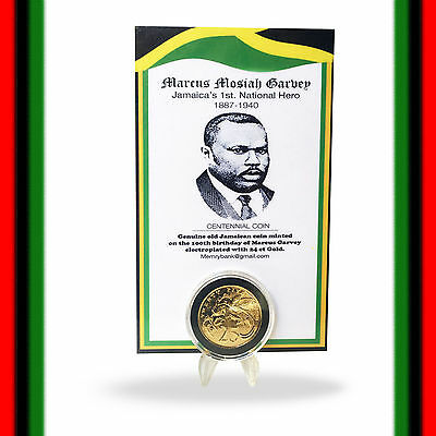 Marcus Mosiah Garvey Jamaica Old Jamaican Coin Electroplated 24 ct Gold Coin